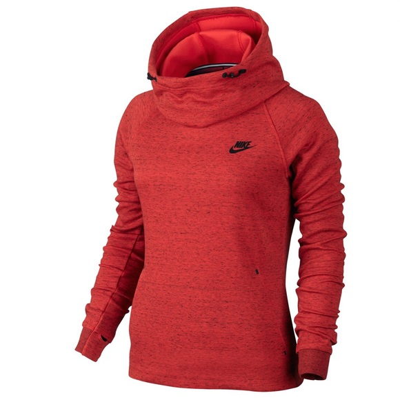 Nike Women's Red Tech Fleece Tunnel Neck Hoodie by Nike